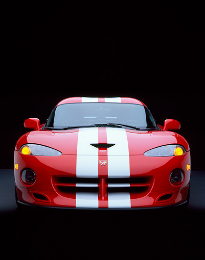 VIP 02 RK0066 06 © Kimball Stock 1997 Dodge Hennessey Viper Venom 600 GTS Red White Stripes Head On Shot Studio