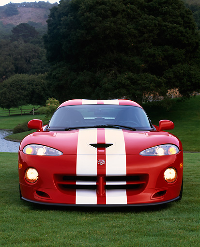VIP 02 RK0067 01 © Kimball Stock 1997 Dodge Hennessey Viper Venom 600 GTS Red White Stripes Head On Shot On Grass