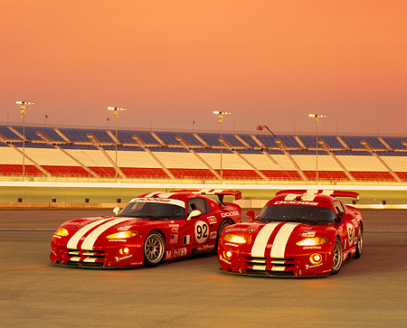 VIP 02 RK0102 03 © Kimball Stock Dodge Viper GTS R Lemans Racing Cars Red And White On Race Track