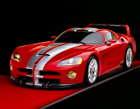VIP 02 RK0116 13 © Kimball Stock Dodge Viper GTSR Concept Red And Silver 3/4 Front View On Red Floor Gray Line Studio