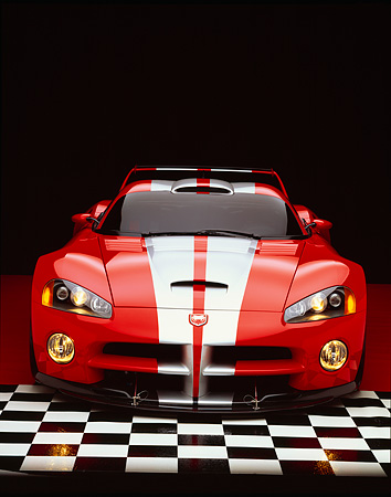 VIP 02 RK0120 11 © Kimball Stock Dodge Viper GTSR Concept Car Red Silver Stripe Head On Shot On Checkered Floor Studio