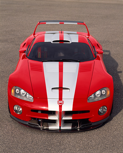 VIP 02 RK0138 02 © Kimball Stock Dodge Viper GTSR Concept Car Red Silver Stripe Head On Shot On Pavement