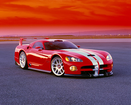 VIP 02 RK0139 02 © Kimball Stock Dodge Viper GTSR Concept Car Red Silver Stripe 3/4 Front View On Pavement Filtered