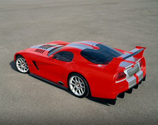 VIP 02 RK0143 03 © Kimball Stock Dodge Viper GTSR Concept Car Red Silver Stripe Overhead 3/4 View On Pavement