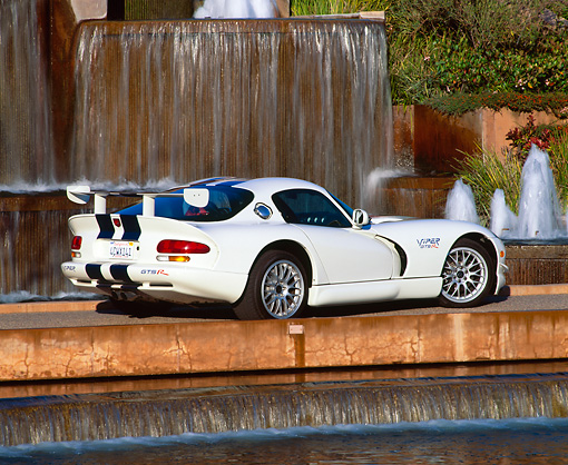 VIP 02 RK0145 04 © Kimball Stock 1998 Dodge Viper GTS R White Blue Stripes 3/4 Rear View By Water Fountain