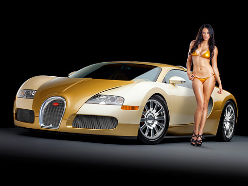 WMN 03 RK0316 01 © Kimball Stock 2008 Bugatti Veyron 16.4 Grand Sport Roadster Gold And White 3/4 Front View Studio With Swimsuit Model