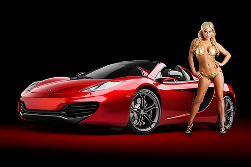 WMN 03 RK0319 01 © Kimball Stock 2013 McLaren MP4-12C Spider Red 3/4 Front View In Studio With Swimsuit Model