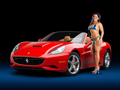 WMN 03 RK0320 01 © Kimball Stock 2009 Ferrari California Red 3/4 Front View Studio With Swimsuit Model