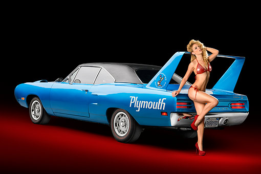 WMN 03 RK0327 01 © Kimball Stock 1970 Plymouth Road Runner Superbird Blue 3/4 View In Studio With Swimsuit Model