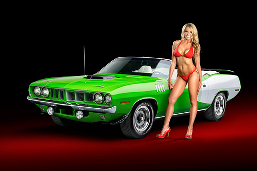 WMN 03 RK0335 01 © Kimball Stock 1971 Plymoth Cuda Green 3/4 View In Studio With Swimsuit Model