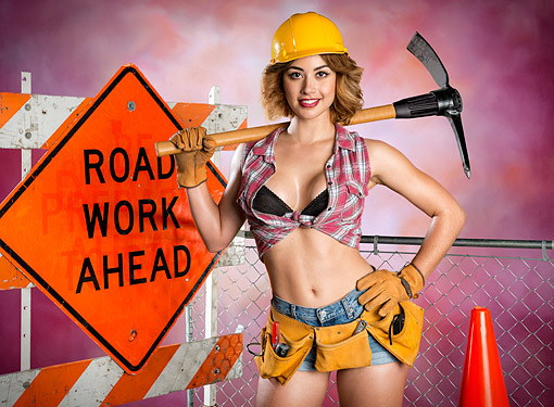 WMN 03 RK0342 01 © Kimball Stock Woman Standing In Construction Scene
