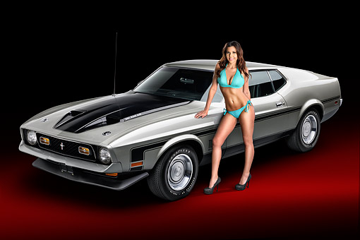 WMN 03 RK0351 01 © Kimball Stock 1971 Ford Mustang Mach 1 351 Ram Air Silver 3/4 Front View In Studio With Swimsuit Model