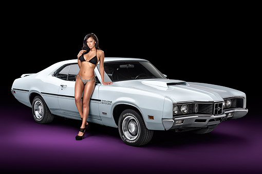 WMN 03 RK0359 01 © Kimball Stock 1970 Mercury Cyclone Spoiler 429 White 3/4 Front View In Studio With Swimsuit Model