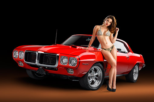 WMN 03 RK0365 01 © Kimball Stock 1969 Pontiac Firebird 400 Red 3/4 Front View With Model In Studio