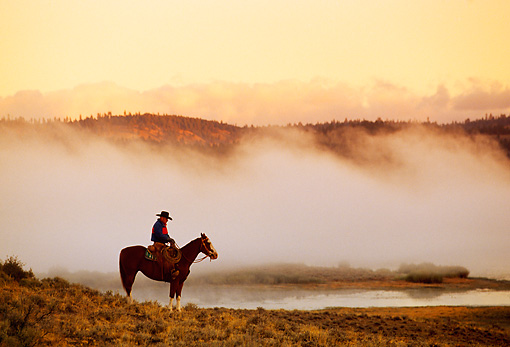 WRG 01 RK0218 02 © Kimball Stock Profile Of Wrangler On Horse Standing By Lake With Morning Fog