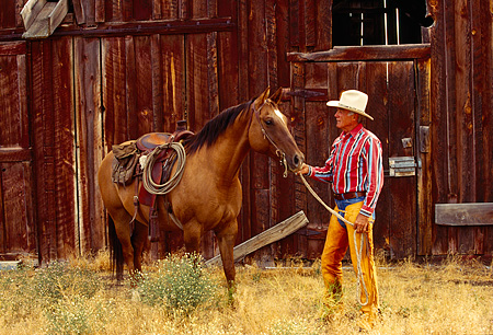 WRG 02 RK0082 08 © Kimball Stock Wrangler Burt Standing With Horse By Barn